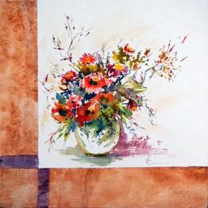 765 Émotions agréables, aqquarelle sur toile  16x16po