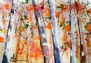 768 Forêt ensoleillée, aquarelle sur p. Fabriano 140lb  5x7po