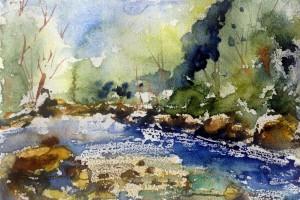 770  Lumière sur les cascades, aquarelle sur papier (mixte) 5.5x8po