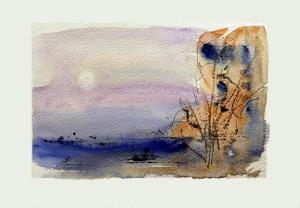 771 Acalmie, aquarelle sur p. Fabriano 140lb 5x7po