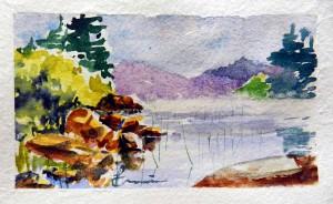 772 Lac Dauphinais, aquarelle sur papier St-Gilles,4x7po
