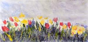 783 Les tulipes, acrylique sur p. Fabriano, structure Schminke, 6x12po