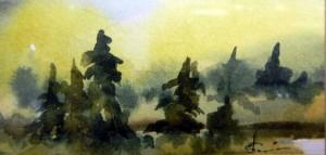 784 Lumière matinale  aquarelle sur p. arches 140lb 2x4po