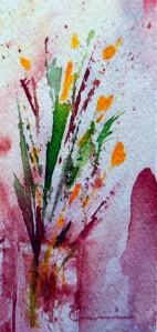 785 Petites fleurs jaunes, aquarelle sur p.arches 140lb, 2x4po
