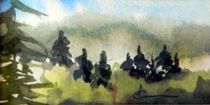 786 La forêt danse, aquarelle sur p. arches 140lb 2x4po
