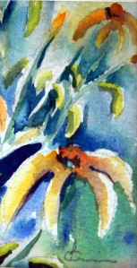 787  Rudbekias 1, aquarelle sur p. arches 140lb 4x2po