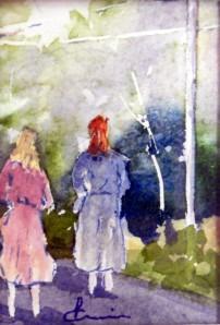 788 Les deux soeurs, aquarelle sur p. arches 140lb, 3.5x2.5po