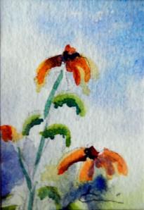 789 Rudbekias 2, aquarelle sur p. arches 140lb 3.5x2.5po