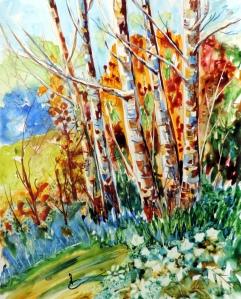 792 Les bouleaux, aquarelle sur Yupo, 11x14po