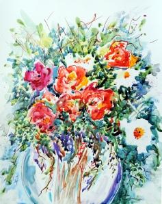 793 Empruntées de mon jardin, aquarelle sur Yupo, 11x14po