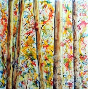 798 L'orée du bois ,aquarelle sur Yupo 30x30po
