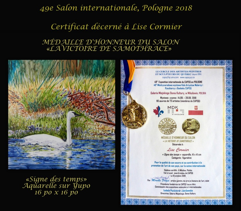 Certificat médaille d'honneur Pologne 2018